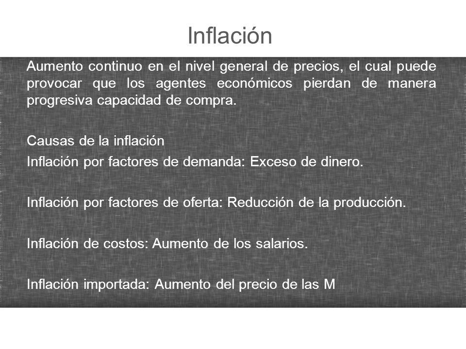 Inflación Aumento continuo en el nivel general de precios, el cual puede provocar que los agentes económicos pierdan de manera progresiva capacidad de