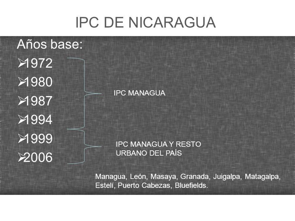 IPC DE NICARAGUA Años base: 1972 1980 1987 1994 1999 2006 IPC MANAGUA IPC MANAGUA Y RESTO URBANO DEL PAÍS Managua, León, Masaya, Granada, Juigalpa, Ma