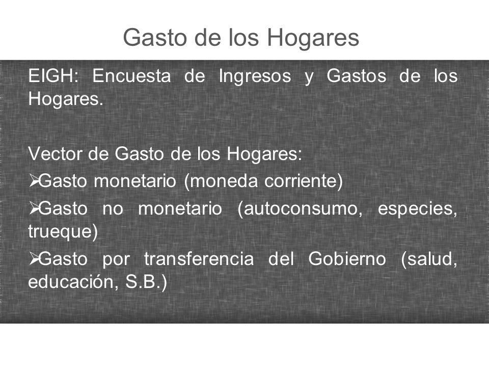 Gasto de los Hogares EIGH: Encuesta de Ingresos y Gastos de los Hogares. Vector de Gasto de los Hogares: Gasto monetario (moneda corriente) Gasto no m