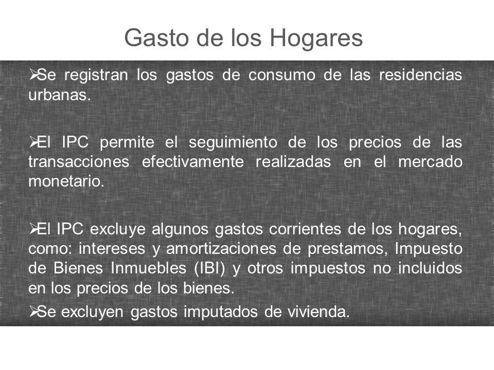Gasto de los Hogares Se registran los gastos de consumo de las residencias urbanas. El IPC permite el seguimiento de los precios de las transacciones