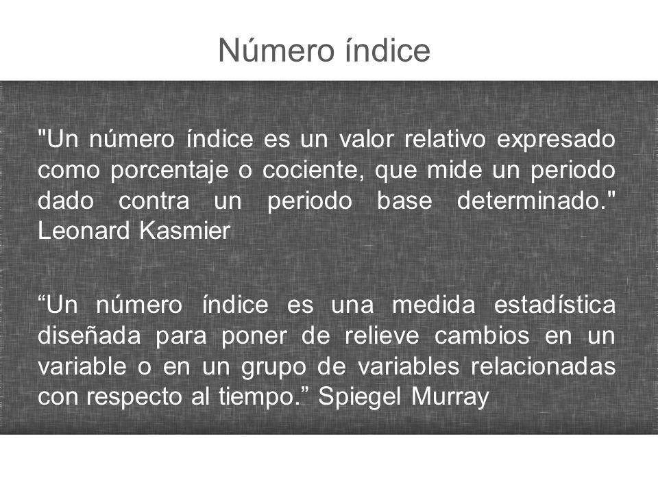 Ejercicio: número índice Elabore índice base 1994 y 1996, luego calculé las tasas de crecimiento de dichos índices.