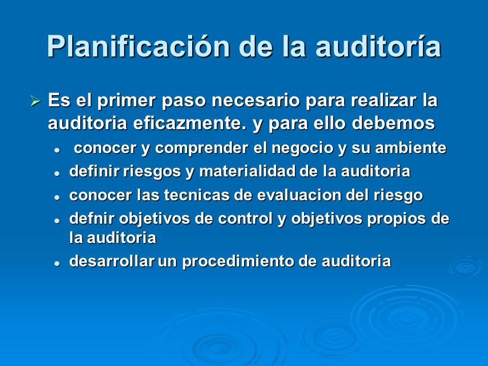 Planificación de la auditoría Es el primer paso necesario para realizar la auditoria eficazmente. y para ello debemos Es el primer paso necesario para