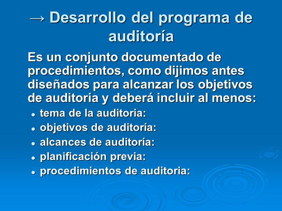 Desarrollo del programa de auditoría Desarrollo del programa de auditoría Es un conjunto documentado de procedimientos, como dijimos antes diseñados p