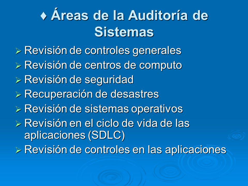 Áreas de la Auditoría de Sistemas Áreas de la Auditoría de Sistemas Revisión de controles generales Revisión de controles generales Revisión de centro