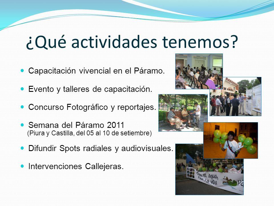 ¿Qué actividades tenemos? Capacitación vivencial en el Páramo. Evento y talleres de capacitación. Concurso Fotográfico y reportajes. Semana del Páramo
