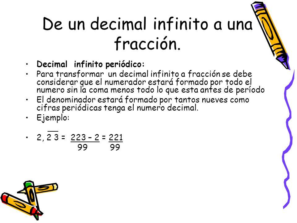 De un número decimal infinito a fracción Decimal infinito semiperiódica: El numerador estará formado por todo el número, menos todo lo que está antes de l período El denominador estará formado por tantos nueves como cifras periódicas tenga y por tantos ceros como cifras semiperiódica haya.