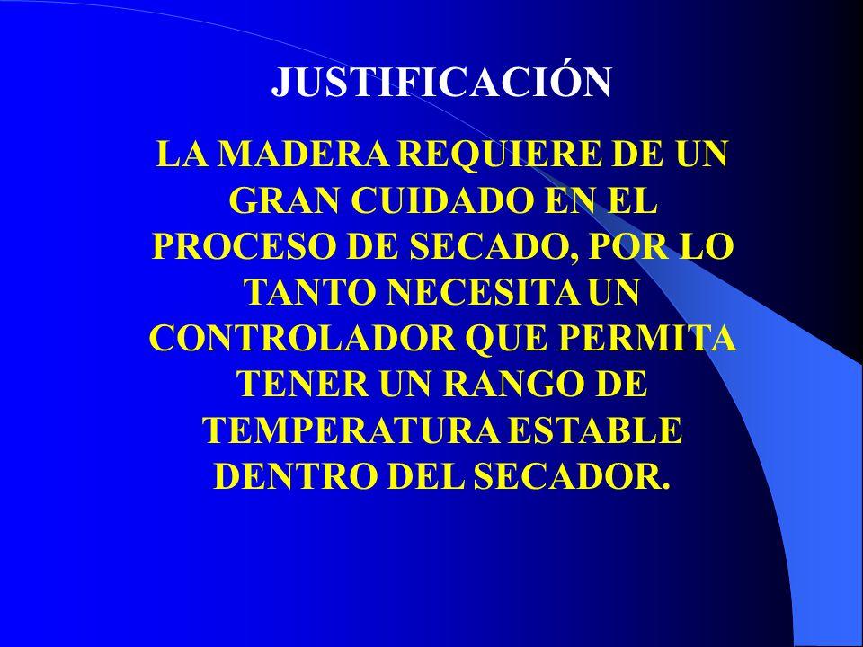 JUSTIFICACIÓN LA MADERA REQUIERE DE UN GRAN CUIDADO EN EL PROCESO DE SECADO, POR LO TANTO NECESITA UN CONTROLADOR QUE PERMITA TENER UN RANGO DE TEMPERATURA ESTABLE DENTRO DEL SECADOR.