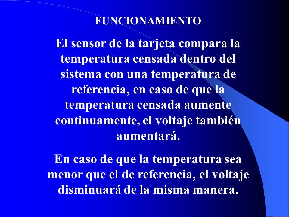 FUNCIONAMIENTO El sensor de la tarjeta compara la temperatura censada dentro del sistema con una temperatura de referencia, en caso de que la temperatura censada aumente continuamente, el voltaje también aumentará.