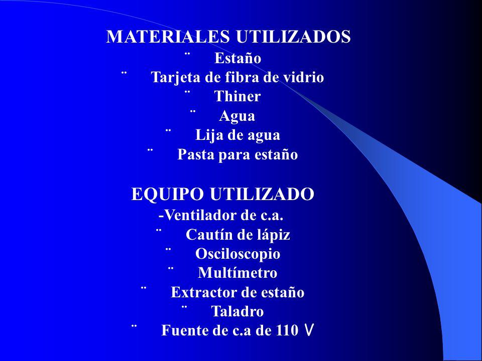MATERIALES UTILIZADOS ¨ Estaño ¨ Tarjeta de fibra de vidrio ¨ Thiner ¨ Agua ¨ Lija de agua ¨ Pasta para estaño EQUIPO UTILIZADO -Ventilador de c.a.