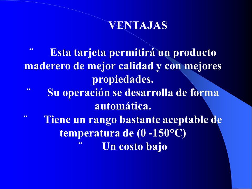 VENTAJAS ¨ Esta tarjeta permitirá un producto maderero de mejor calidad y con mejores propiedades.
