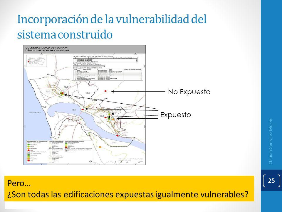 Incorporación de la vulnerabilidad del sistema construido Claudia González Muzzio 25 No Expuesto Expuesto Pero… ¿Son todas las edificaciones expuestas
