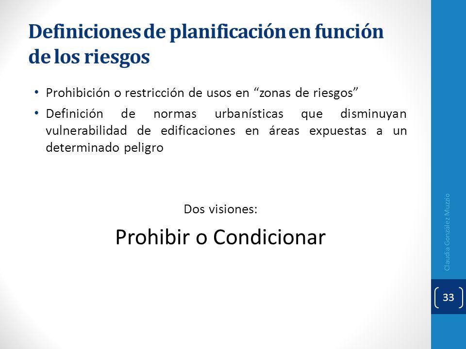 Definiciones de planificación en función de los riesgos Prohibición o restricción de usos en zonas de riesgos Definición de normas urbanísticas que di