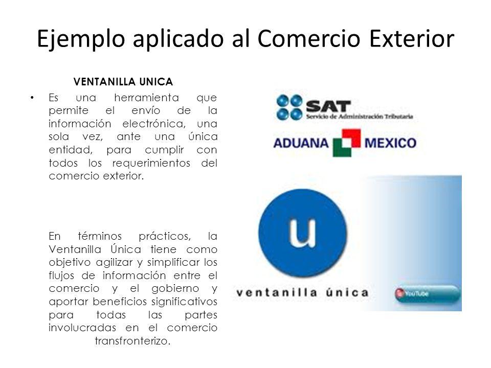 Ejemplo aplicado al Comercio Exterior VENTANILLA UNICA Es una herramienta que permite el envío de la información electrónica, una sola vez, ante una única entidad, para cumplir con todos los requerimientos del comercio exterior.