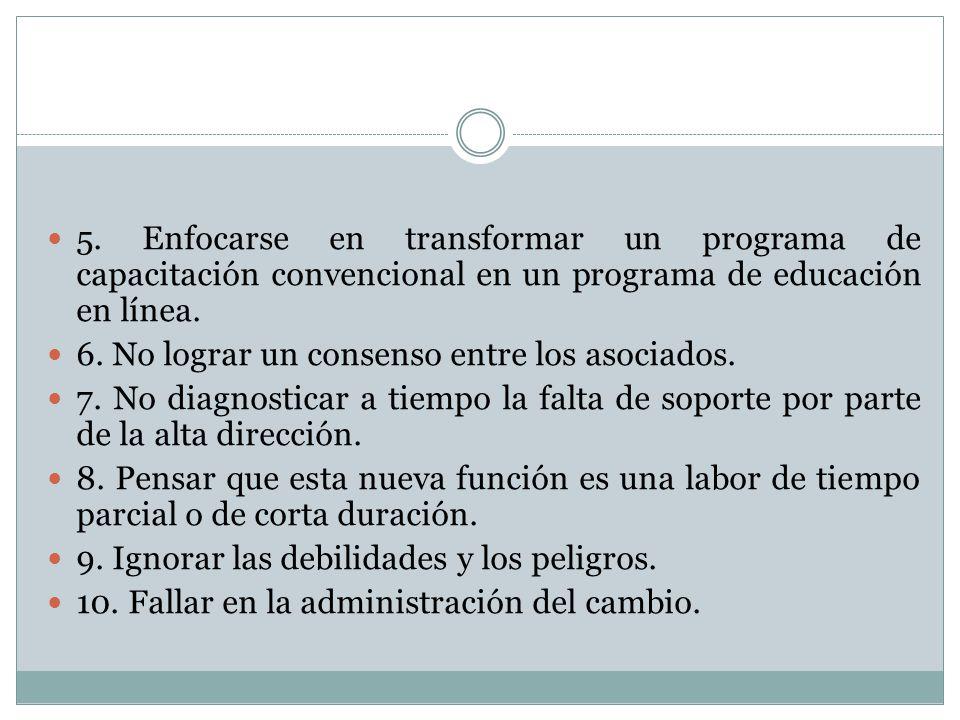5. Enfocarse en transformar un programa de capacitación convencional en un programa de educación en línea. 6. No lograr un consenso entre los asociado