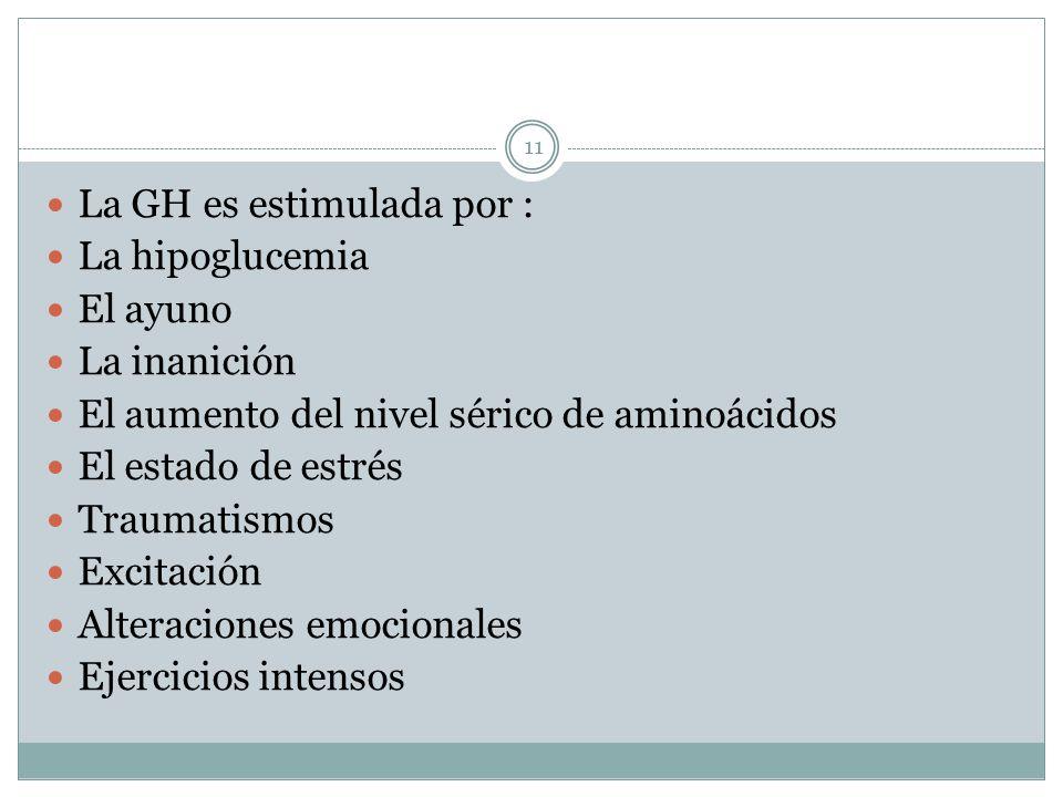 La GH es estimulada por : La hipoglucemia El ayuno La inanición El aumento del nivel sérico de aminoácidos El estado de estrés Traumatismos Excitación