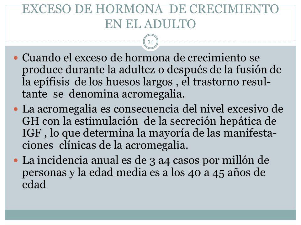 EXCESO DE HORMONA DE CRECIMIENTO EN EL ADULTO Cuando el exceso de hormona de crecimiento se produce durante la adultez o después de la fusión de la ep