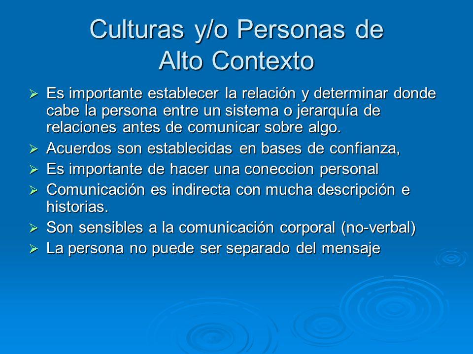 Culturas y/o Personas de Alto Contexto Es importante establecer la relación y determinar donde cabe la persona entre un sistema o jerarquía de relaciones antes de comunicar sobre algo.