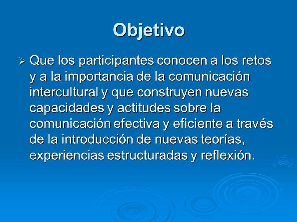 Objetivo Que los participantes conocen a los retos y a la importancia de la comunicación intercultural y que construyen nuevas capacidades y actitudes sobre la comunicación efectiva y eficiente a través de la introducción de nuevas teorías, experiencias estructuradas y reflexión.
