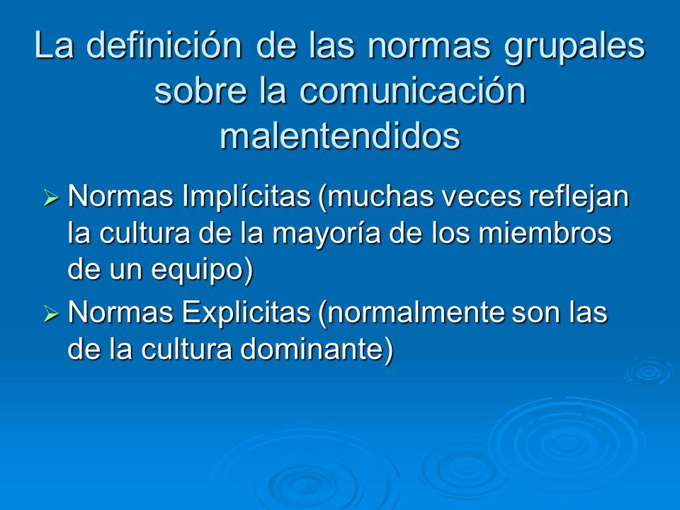 La definición de las normas grupales sobre la comunicación malentendidos Normas Implícitas (muchas veces reflejan la cultura de la mayoría de los miembros de un equipo) Normas Implícitas (muchas veces reflejan la cultura de la mayoría de los miembros de un equipo) Normas Explicitas (normalmente son las de la cultura dominante) Normas Explicitas (normalmente son las de la cultura dominante)