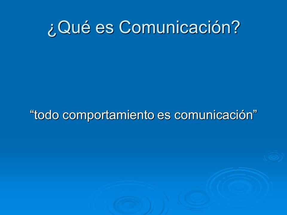 ¿Qué es Comunicación? todo comportamiento es comunicación