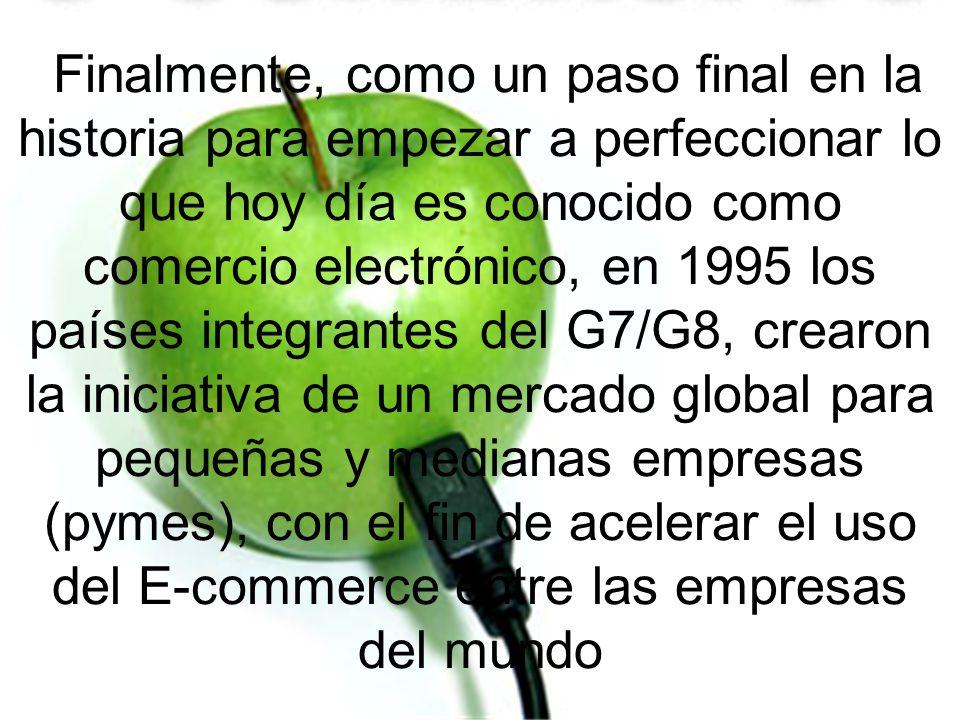 Finalmente, como un paso final en la historia para empezar a perfeccionar lo que hoy día es conocido como comercio electrónico, en 1995 los países int