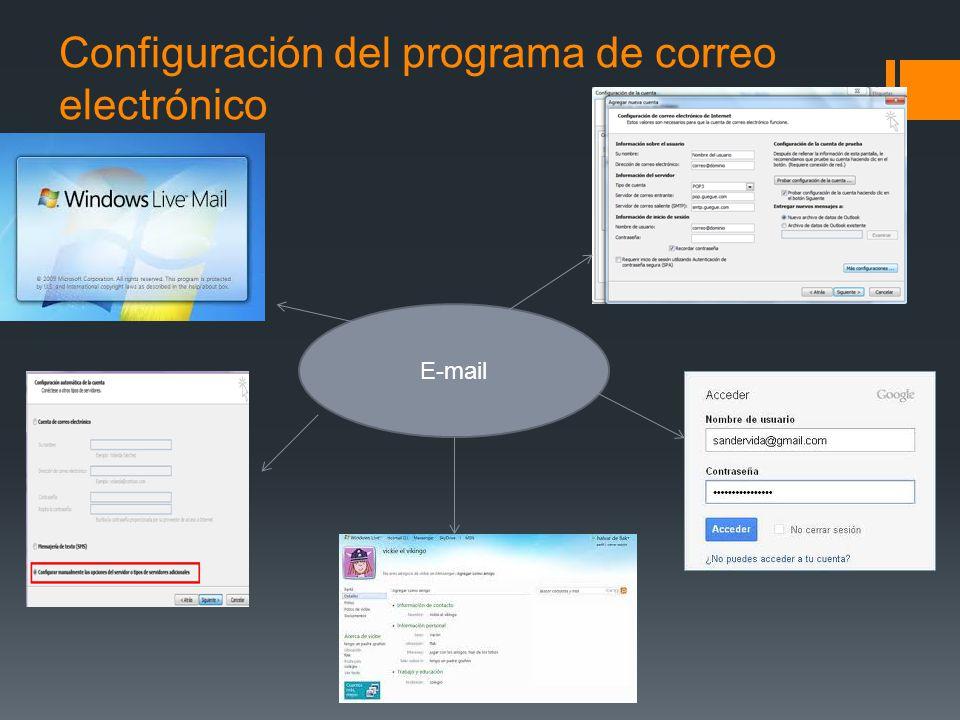 Configuración del programa de correo electrónico E-mail