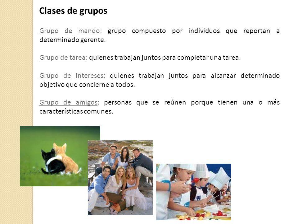 Grupo de mando: grupo compuesto por individuos que reportan a determinado gerente. Grupo de tarea: quienes trabajan juntos para completar una tarea. G