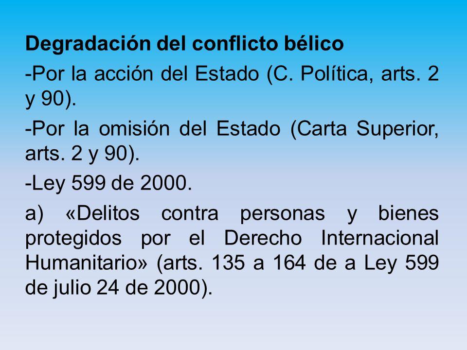 Degradación del conflicto bélico -Por la acción del Estado (C.