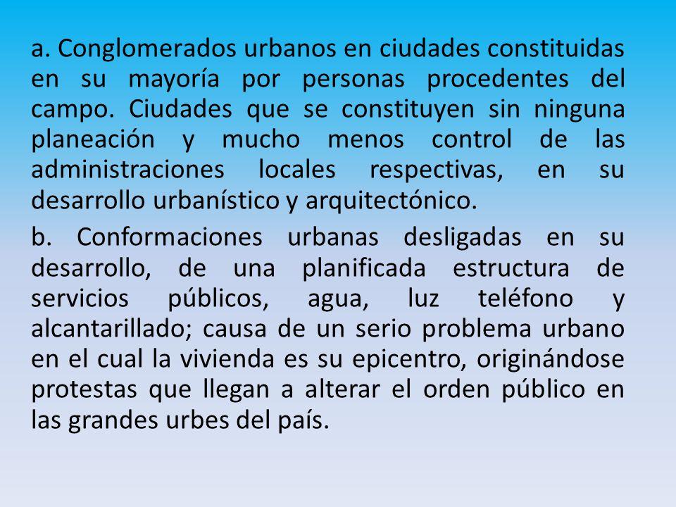 a.Conglomerados urbanos en ciudades constituidas en su mayoría por personas procedentes del campo.
