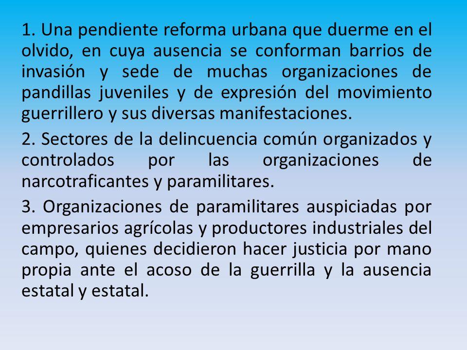 1. Una pendiente reforma urbana que duerme en el olvido, en cuya ausencia se conforman barrios de invasión y sede de muchas organizaciones de pandilla