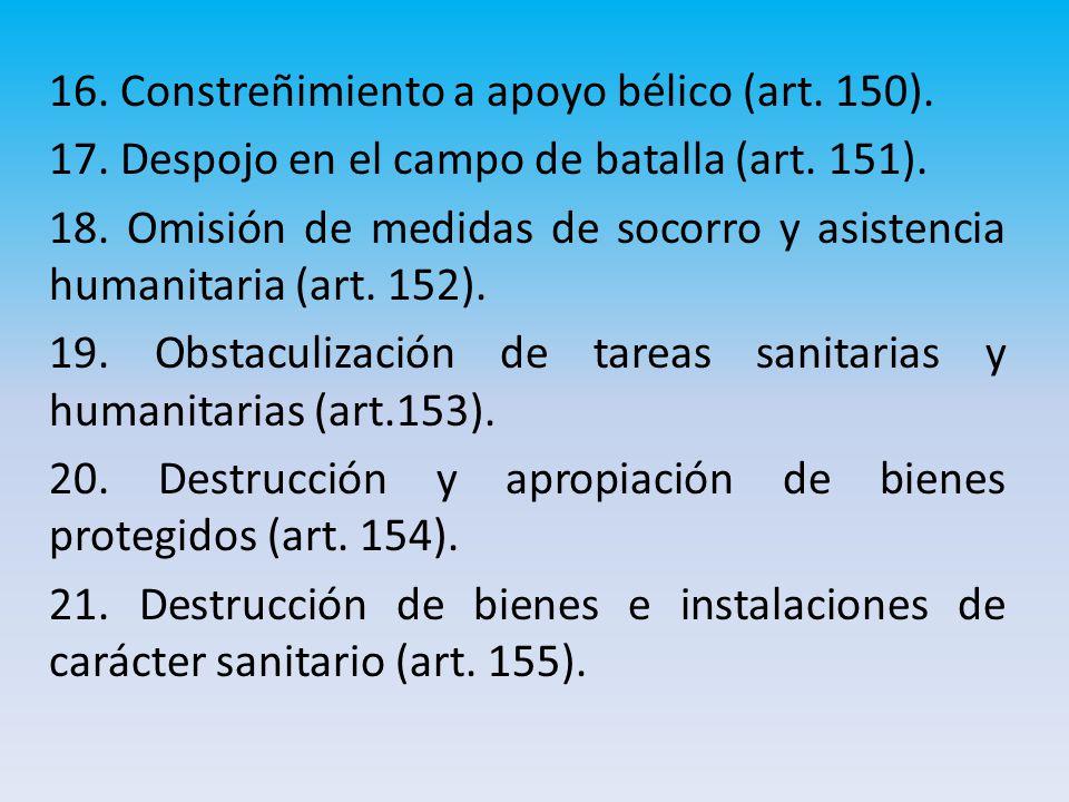 16.Constreñimiento a apoyo bélico (art. 150). 17.