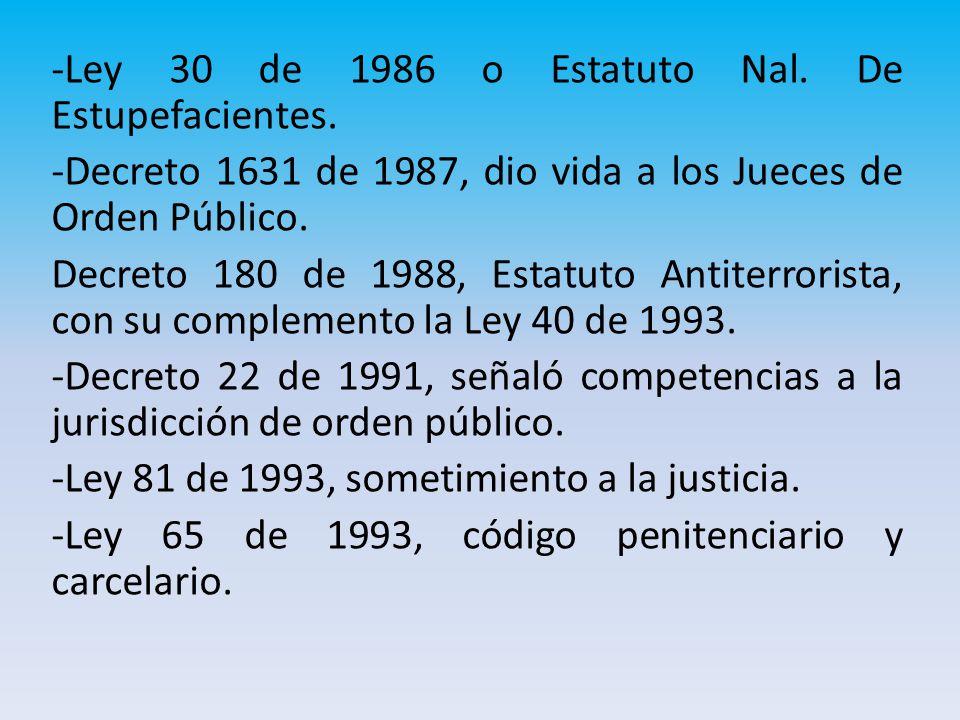-Ley 30 de 1986 o Estatuto Nal.De Estupefacientes.