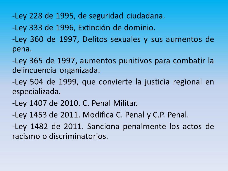 -Ley 228 de 1995, de seguridad ciudadana.-Ley 333 de 1996, Extinción de dominio.