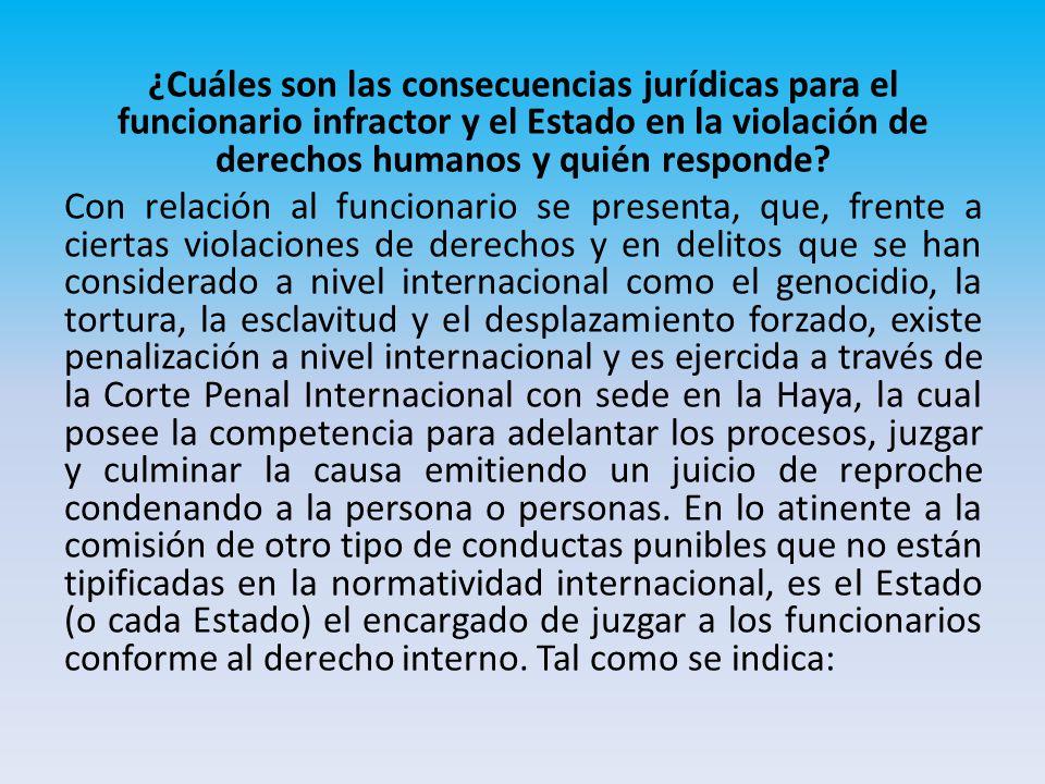 ¿Cuáles son las consecuencias jurídicas para el funcionario infractor y el Estado en la violación de derechos humanos y quién responde.