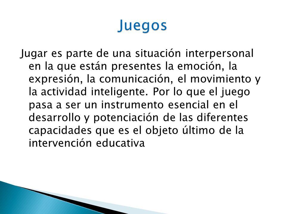 Jugar es parte de una situación interpersonal en la que están presentes la emoción, la expresión, la comunicación, el movimiento y la actividad inteli