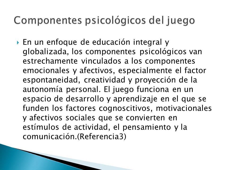 En un enfoque de educación integral y globalizada, los componentes psicológicos van estrechamente vinculados a los componentes emocionales y afectivos