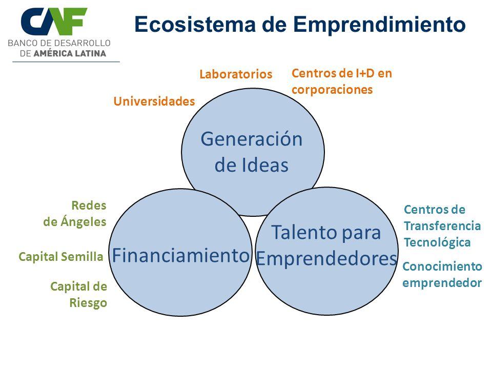 Ecosistema de Emprendimiento Generación de Ideas Talento para Emprendedores Financiamiento Centros de Transferencia Tecnológica Universidades Redes de