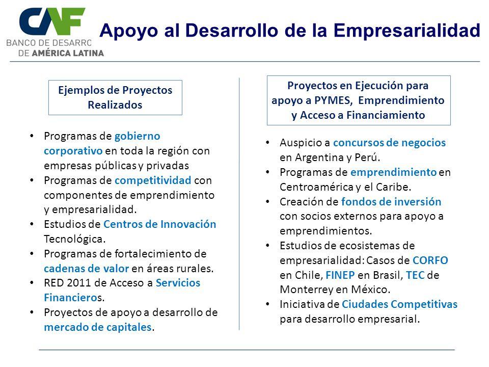 Apoyo al Desarrollo de la Empresarialidad Ejemplos de Proyectos Realizados Proyectos en Ejecución para apoyo a PYMES, Emprendimiento y Acceso a Financ