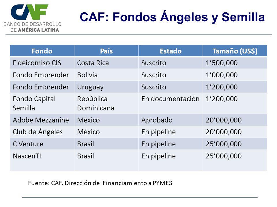 CAF: Fondos Ángeles y Semilla FondoPaísEstadoTamaño (US$) Fideicomiso CISCosta RicaSuscrito1500,000 Fondo EmprenderBoliviaSuscrito1000,000 Fondo Empre