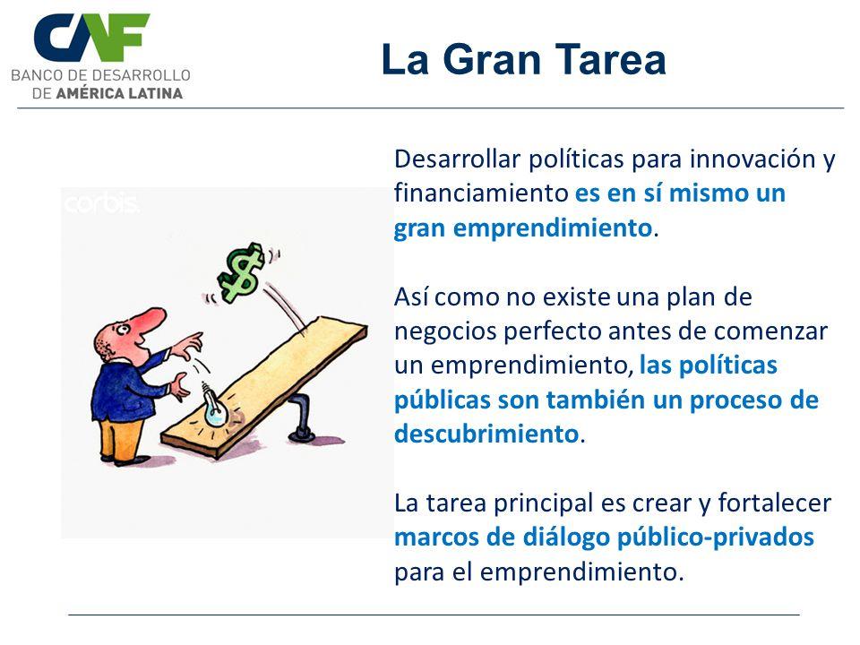 La Gran Tarea Desarrollar políticas para innovación y financiamiento es en sí mismo un gran emprendimiento. Así como no existe una plan de negocios pe