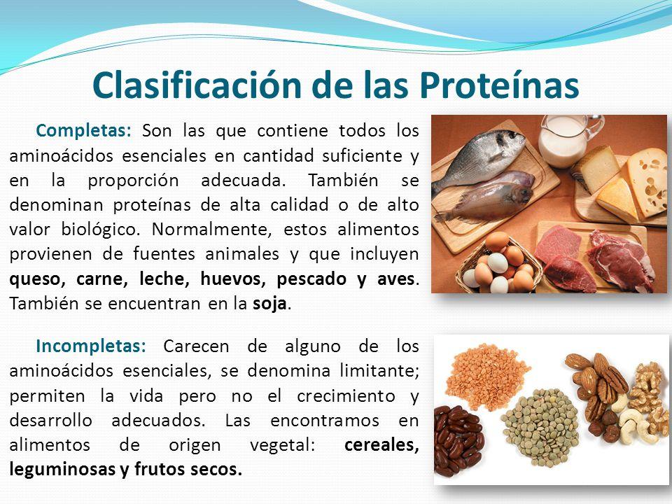 Clasificación de las Proteínas Completas: Son las que contiene todos los aminoácidos esenciales en cantidad suficiente y en la proporción adecuada. Ta