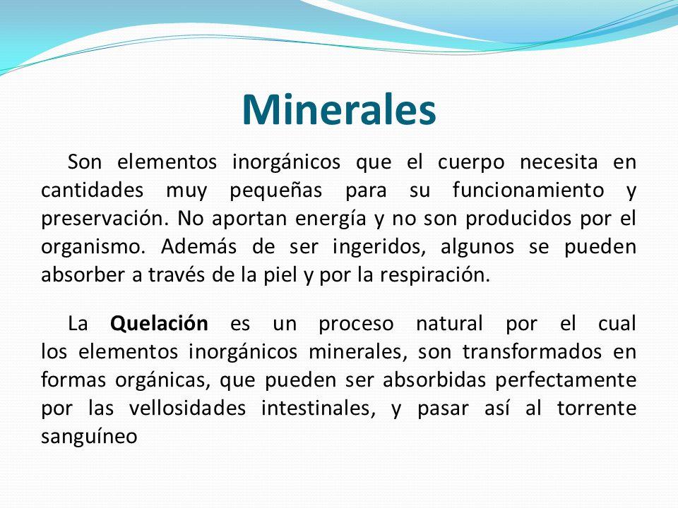 Minerales Son elementos inorgánicos que el cuerpo necesita en cantidades muy pequeñas para su funcionamiento y preservación. No aportan energía y no s