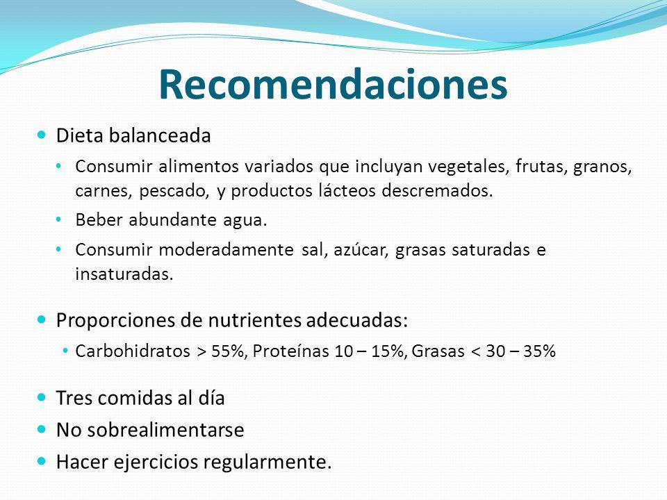 Recomendaciones Dieta balanceada Consumir alimentos variados que incluyan vegetales, frutas, granos, carnes, pescado, y productos lácteos descremados.