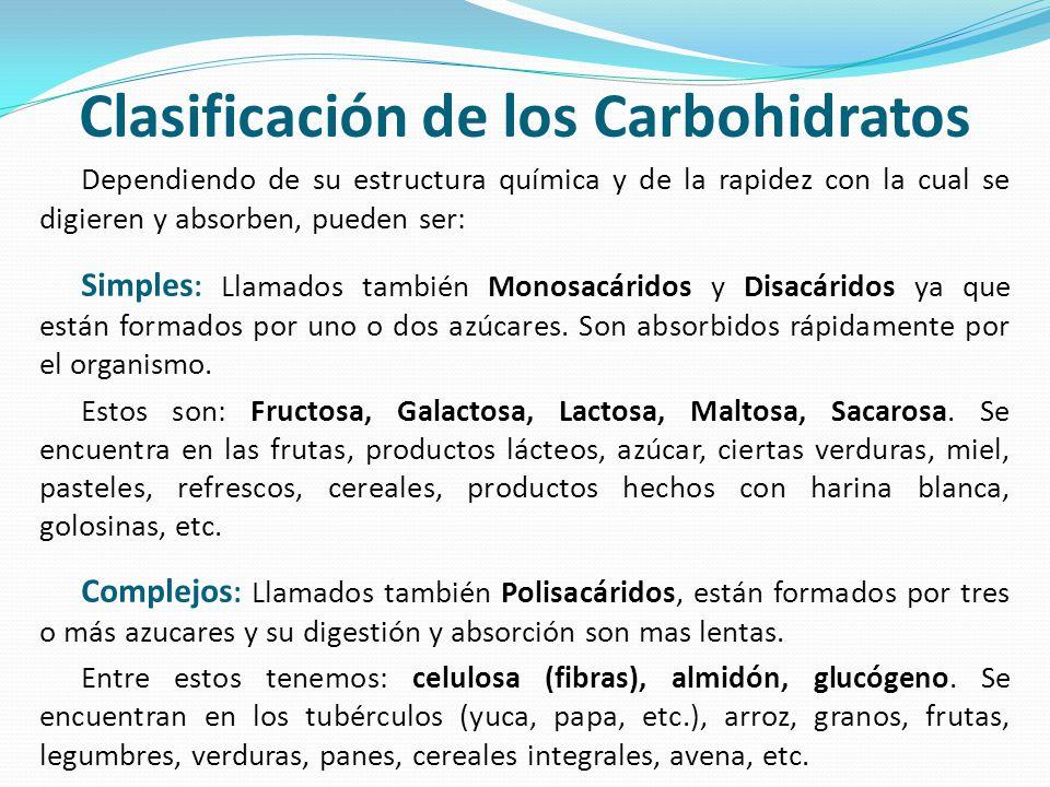 Clasificación de los Carbohidratos Dependiendo de su estructura química y de la rapidez con la cual se digieren y absorben, pueden ser: Simples : Llam