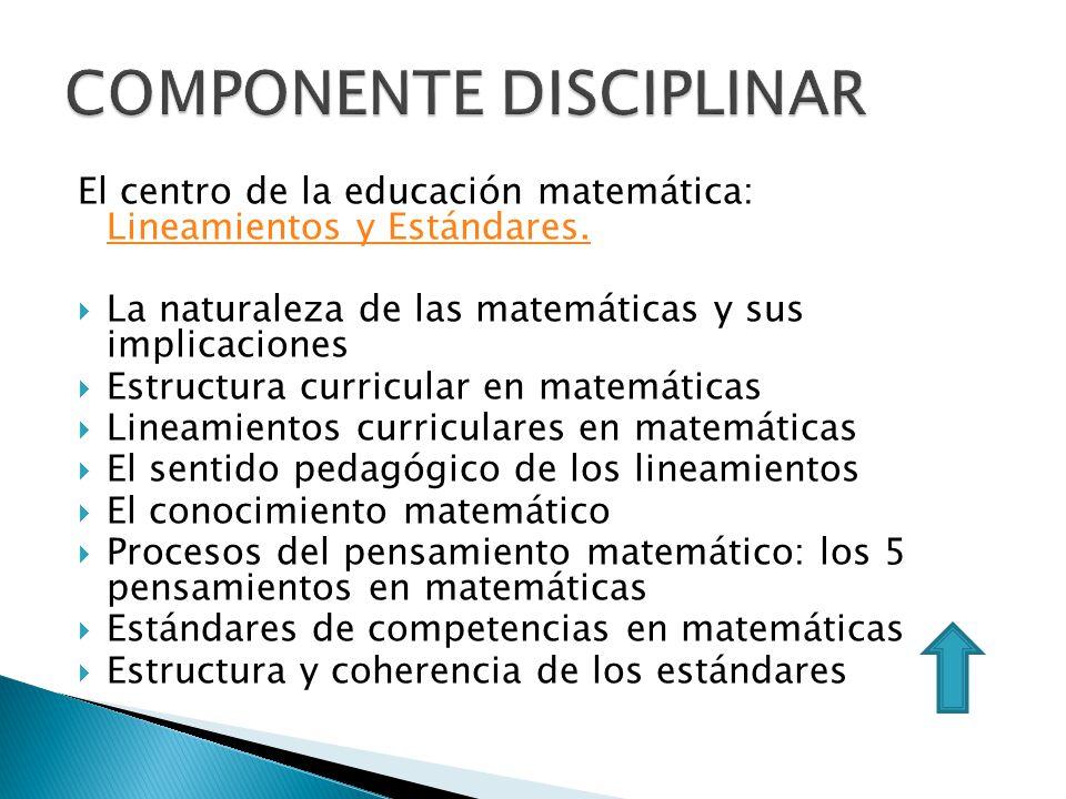 El centro de la educación matemática: Lineamientos y Estándares. Lineamientos y Estándares. La naturaleza de las matemáticas y sus implicaciones Estru