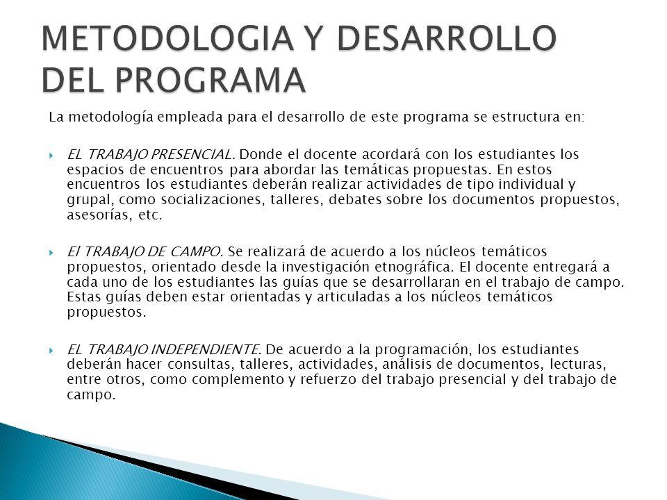 La metodología empleada para el desarrollo de este programa se estructura en: EL TRABAJO PRESENCIAL.