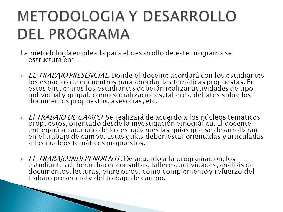 La metodología empleada para el desarrollo de este programa se estructura en: EL TRABAJO PRESENCIAL. Donde el docente acordará con los estudiantes los