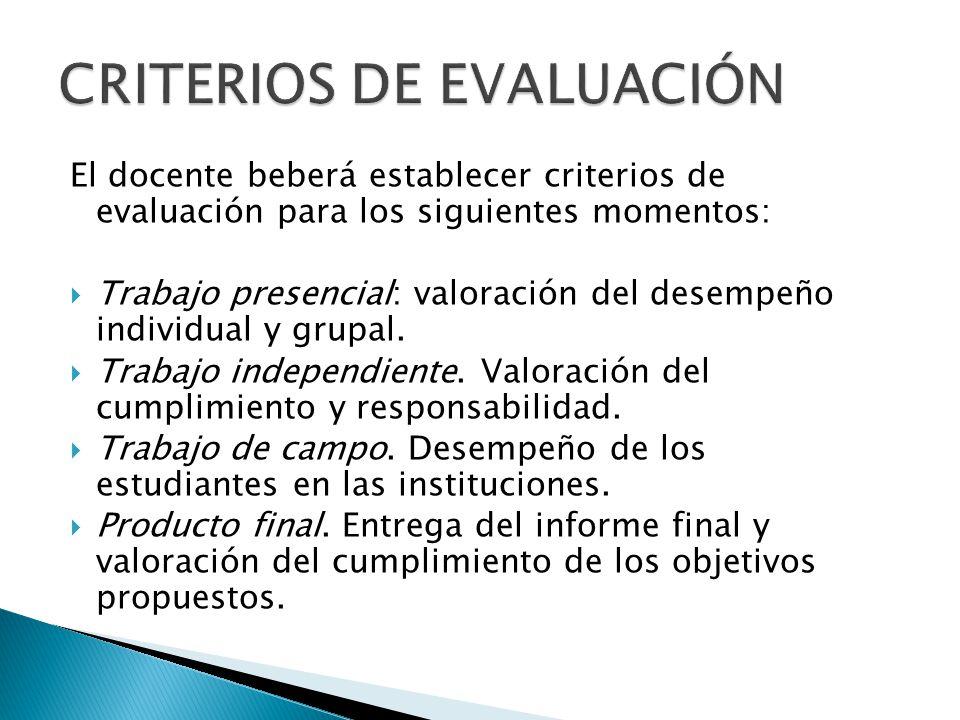 El docente beberá establecer criterios de evaluación para los siguientes momentos: Trabajo presencial: valoración del desempeño individual y grupal. T