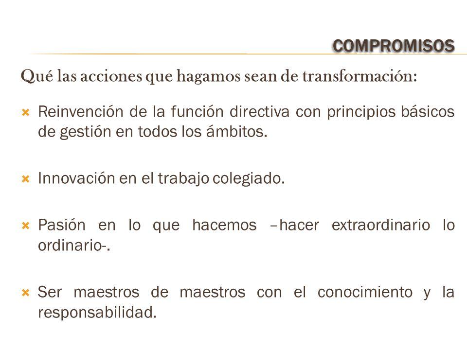 COMPROMISOSCOMPROMISOS Qué las acciones que hagamos sean de transformación: Reinvención de la función directiva con principios básicos de gestión en todos los ámbitos.