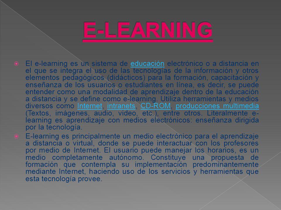 El e-learning es un sistema de educación electrónico o a distancia en el que se integra el uso de las tecnologías de la información y otros elementos pedagógicos (didácticos) para la formación, capacitación y enseñanza de los usuarios o estudiantes en línea, es decir, se puede entender como una modalidad de aprendizaje dentro de la educación a distancia y se define como e-learning.